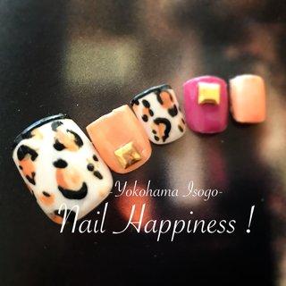 #レオパード柄フットネイル #リゾート #ハデかわネイル #磯子区ネイルサロン #オールシーズン #海 #リゾート #フット #レオパード #Nail Happiness!(ネイルハピネス)*ささきまき #ネイルブック