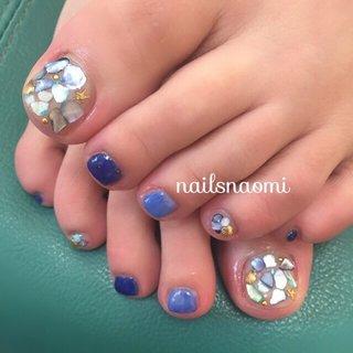そろそろフットもしたくなるんでは…?😍❤️#nail #nails #nailsnaomi #footnail #bluenails #shellnail #福岡ネイル #城南区ネイル #子連れネイル福岡 #マシンケア #マシンオフ #駐車場ありネイルサロン #nailsnaomi_ #ネイルブック