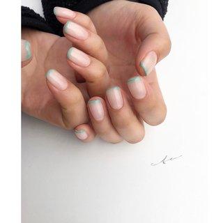green×frenchで春色🌸  #ジェルネイル#ジェル#ネイルデザイン#ニュアンスネイル#ハンド #ハンド #シンプル #フレンチ #ホワイト #グリーン #ジェル #yn.eto #ネイルブック