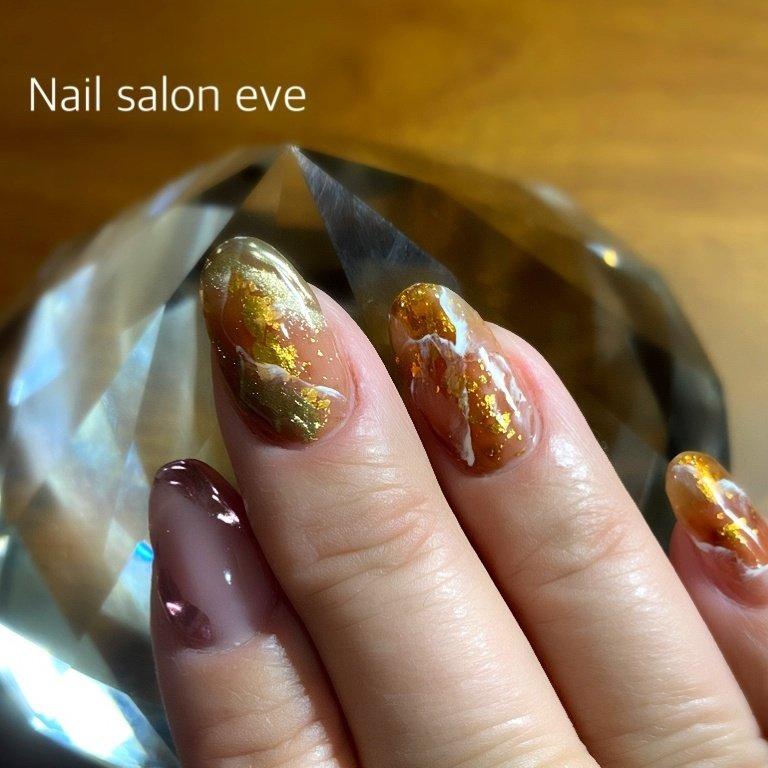 antique gold nail #オールシーズン #ハンド #Nail salon eve #ネイルブック