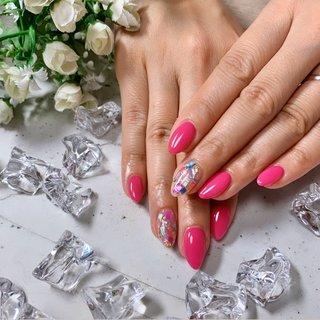 #ピンク #ショッキングピンク #ワンカラー #シェル埋めつくし #派手 #お客様 #Nail Salon MAHALO #ネイルブック
