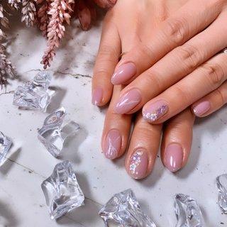 #大理石 #キラキラ #ピンク #ニュアンス #もやもや #Nail Salon MAHALO #ネイルブック
