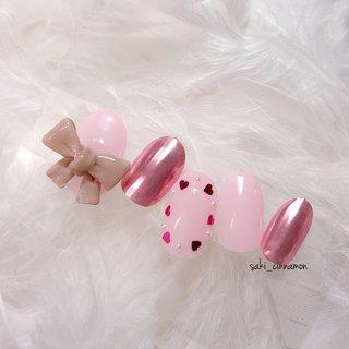 ガーリー🎀💕   #ネイル #ジェルネイル #ネイルアート #nail #nails #nailart #gelnail #福岡ネイル #福岡ネイルサロン #大牟田ネイル #美甲 #ガーリーネイル #リボンネイル #春 #シンプル #ハート #3D #ミラー #リボン #ピンク #saki_cinnamon #ネイルブック