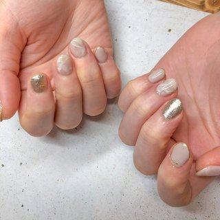 小爪の方でも可愛く♡ #ショートネイル  #大理石ネイル #大理石 #大理石風ネイル #ベージュ #ピンク #シルバー #ジェル #お客様 #Natsu #ネイルブック