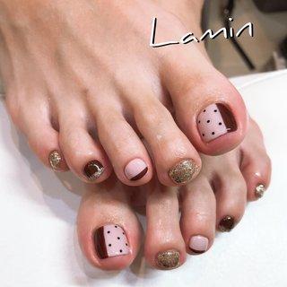 #footnail #ドット #ドットネイル #ピンク #ボルドー #Lamine #ネイルブック
