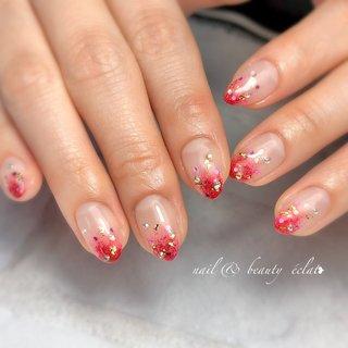 #ぬりかけネイル#赤ネイル#クリア系ネイル #nail & beauty éclat❥ #ネイルブック