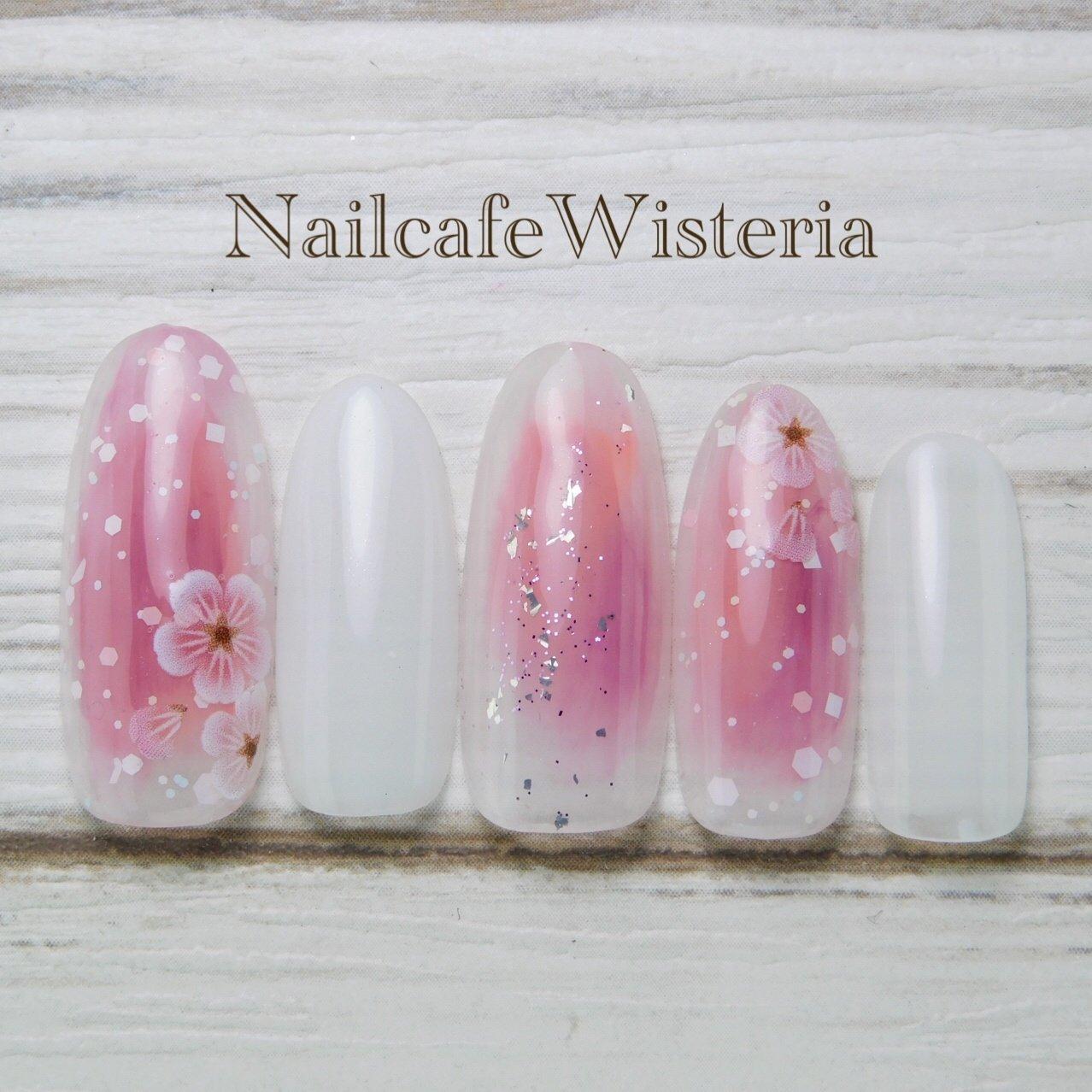 3月🌸定額デザイン❣️  ①  #桜 #ピンク #ホワイト #nailcafewisteria #ネイルブック