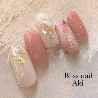 #春 #フラワー #ホワイト #ピンク #Aki1030 #ネイルブック