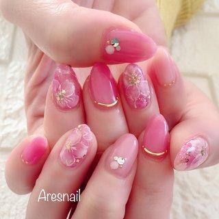 ✿.*・✿.*・春爛漫✿.*・✿.*・ 桜はいつ咲くかな〜🌸 大人可愛い桜ネイルです(^^)♪♪ #桜ネイル#春ネイル#大人可愛いネイル#ピンクネイル #春 #デート #女子会 #ハンド #ワンカラー #フラワー #ミディアム #ピンク #ジェル #お客様 #Azusa #ネイルブック