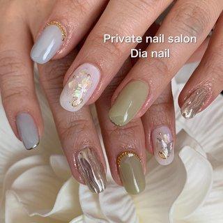 #春 #秋 #卒業式 #入学式 #ハンド #シンプル #シェル #ニュアンス #Private nail salon Dia nail #ネイルブック