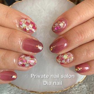 #春 #卒業式 #入学式 #ハンド #ワンカラー #シェル #Private nail salon Dia nail #ネイルブック