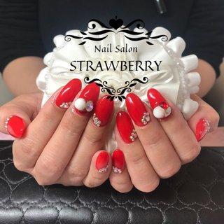 #赤#自爪ロング#パール#vカットストーン #Nailsalon strawberry (ネイルサロン ストロベリー) オートネイル導入店 オートネイルマスター講師 #ネイルブック