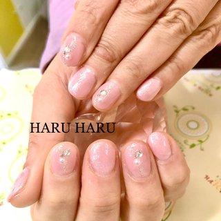 #ウエディングネイル #ウェディング #ピンク #ピンクラメ #微粒子ラメ #上品ネイル #上品 #ストーン #ストーンネイル #salon_haru_haru #ネイルブック