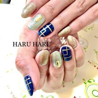 #ラインアート #ラインアートネイル #個性的ネイル #個性的ネイルデザイン #ネイビー #ラメネイル #お洒落ネイル #おしゃれネイル #オシャレネイル #salon_haru_haru #ネイルブック