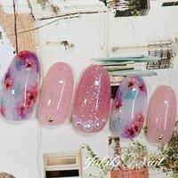 ♡🆕ハンド定額デザイン♡ タイダイ×押し花の桜🌸ネイル❤ チェリーブロッサムをイメージして濃淡ピンクの押し花を散りばめました😊透け感とのあるくすみ系のお色で纏めました。大人可愛いデザインです🥰 #ユキコネイル #要町 #押し花ネイル #春ネイル #桜ネイル #春 #オールシーズン #入学式 #デート #ハンド #ラメ #パール #シースルー #タイダイ #押し花 #ホワイト #ピンク #パステル #ジェル #ネイルチップ #ユキコネイル #ネイルブック