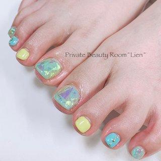 ・ お客様nail♡ ・ ・ いつもありがとうございます♡ ・ ・ 完全予約制 ・ ・ private☆nail☆room~Lien~ ・ ・  #nail#gel#nailart#nailstagram#gelnail#nailart #naildesign#hand#foot#Japannail#tokyo #like4like #美爪#大人nail#ニュアンスネイル#ミラーネイル#クリアネイル#キラキラネイル#ビジューネイル#抜け感ネイル#フットデザイン #夏 #フット #シースルー #マリン #オーロラ #ショート #イエロー #水色 #カラフル #ペディキュア #お客様 #Lien Nail #ネイルブック