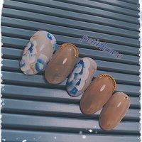 春のflowerネイル  blue×beige  #春のフラワー#ブルー#ベージュ#福岡市ネイルサロン#福岡市城南区ネイルサロン#プチハウス #春 #フラワー #ベージュ #ブルー #ジェル #ネイルチップ #petit house プチハウス #ネイルブック