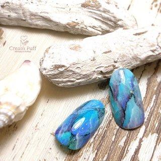 #ブルー#Blue#天然石#初夏#大理石#ターコイズ #春 #夏 #海 #グラデーション #タイダイ #大理石 #ターコイズ #水色 #ブルー #CreamPuff #ネイルブック