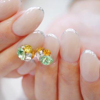 #ビジューネイル#キラキラ#ベージュ#グレージュ #シンプル #大人ネイル #大人かわいい #ange nail salon #ネイルブック