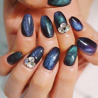 #マグネットジェル#ブルー#ビジューネイル#かわいい #ange nail salon #ネイルブック