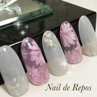 #ハンド #フラワー #ホワイト #ピンク #Nail de Repos〜ルポ〜 #ネイルブック