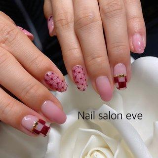 #禰豆子ネイル #オールシーズン #ハンド #Nail salon eve #ネイルブック