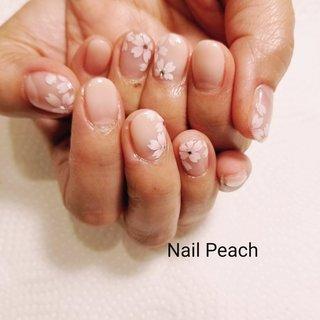 #さくらネイル #Nail Peach #ネイルブック