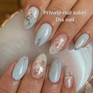 #春 #冬 #卒業式 #入学式 #グラデーション #ラメ #シェル #Private nail salon Dia nail #ネイルブック