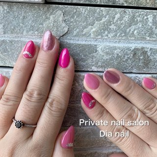 #春 #シンプル #ラメ #ワンカラー #Private nail salon Dia nail #ネイルブック
