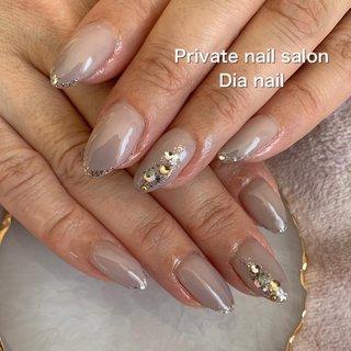 #春 #秋 #オフィス #シンプル #グラデーション #ビジュー #Private nail salon Dia nail #ネイルブック