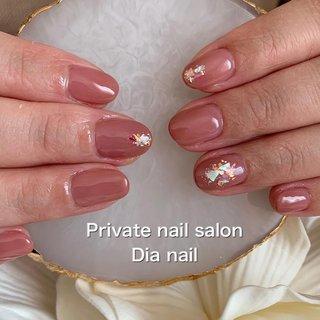 #春 #シンプル #ラメ #ワンカラー #シェル #Private nail salon Dia nail #ネイルブック