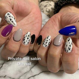 #秋 #冬 #アニマル柄 #レオパード #Private nail salon Dia nail #ネイルブック