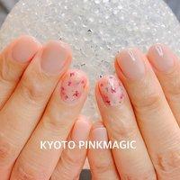 #ピンクマジック は京都市右京区西院のネイルサロンです。  #ハンドネイル #おしゃれネイル #西院ネイルサロン #秋ネイル #シンプルネイル#春ネイル #ハンド #押し花 #ショート #ベージュ #ピンク #ジェル #お客様 #Pinkmagic♡miki #ネイルブック