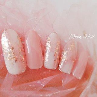 #春ネイル #ピンク #パステル #大人かわいい #デート #springnail #pinknails #pastelnails #ホイルアート  #ピンクゴールド #Romy Nail #ネイルブック