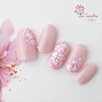 #春 #フラワー #ホワイト #ピンク #ジェル #ネイルチップ #La_casetta #ネイルブック