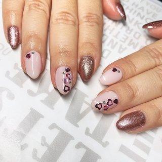 #お客様ネイル #ピンク#ラメ#ラブリー#ハートホロネイル #Mii #ネイルブック