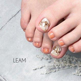 #春 #夏 #オールシーズン #女子会 #フット #ラメ #ビジュー #シェル #ピンク #オレンジ #ジェル #お客様 #nail salon Leam #ネイルブック