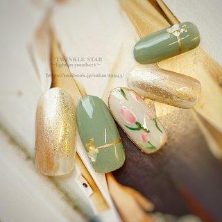#春 #パーティー #デート #女子会 #ハンド #ラメ #フラワー #ミディアム #ホワイト #ピンク #ゴールド #ジェル #ネイルチップ #Twinkle Star Akiko #ネイルブック