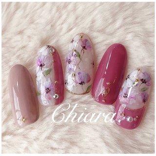 *   春サンプルより💍♡      Instagram → yochan4.nail #春 #夏 #オールシーズン #フラワー #ピンク #YokoShikata♡キアラ #ネイルブック