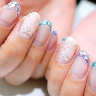 #シェルネイル#桜ネイル#春ネイル#かわいい#フレンチ #ange nail salon #ネイルブック