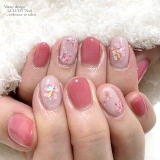 #桜ネイル #春 #卒業式 #入学式 #女子会 #フラワー #ピンク #luludynail #ネイルブック