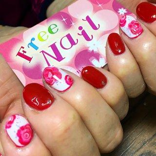 #バラ#薔薇#ローズ#赤#花柄#花#フラワー #freenail2012 #ネイルブック