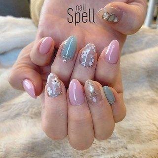 Flower💅 ︙ #gelnail#gel#nailspell#nailstagrame #nailsalonspell #nails #春ネイル#ネイル#手描きアート#ジェルネイル#ネイルデザイン#フラワーネイル#ネイルブック #kokoist#花柄ネイル#上田市ネイルサロン#Flowernails#メタリックジェル#シェルストーン #nailSpell_azusa #ネイルブック