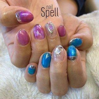 asymmetry💅 ︙ #gelnail#gel#nailspell#nailstagrame #nailsalonspell #nails #春ネイル#ネイル#手描きアート#ピンクネイル#ネイルデザイン#アシンメトリーネイル#ブルーネイル#kokoist#天然石アート#上田市ネイルサロン# nuancenails #ニュアンスネイル #nailSpell_azusa #ネイルブック