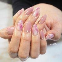 #持ち込みデザイン #春  #ピンク #マーブル  #もやもやネイル  #ニュアンス  #momogel  #ちゅるんネイル #nailroomLARME #ネイルブック