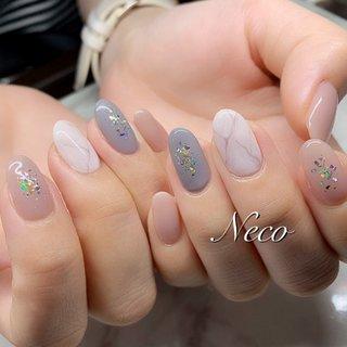 #ハンド #ラメ #大理石 #ピンク #グレー #ジェル #お客様 #nail salon Neco #ネイルブック