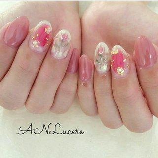 #ピンク#チーク#チューリップ#花柄#ガーリー#可愛い#かわいい#大人可愛い#春 #ANLucere(アンルチェーレ) #ネイルブック