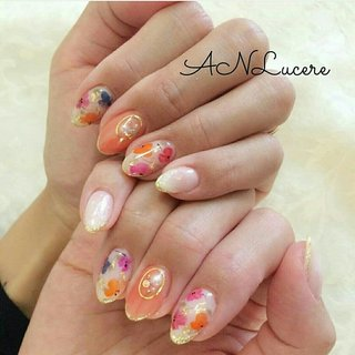 #春#花柄#フラワー#ピンク#フレンチ#可愛い#かわいい#ガーリー#上品#モテ #ANLucere(アンルチェーレ) #ネイルブック