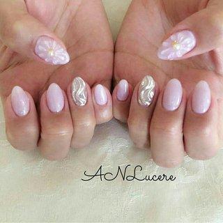 #ピンク#ミラー#うねうね#フラワー#花柄#パール#シンプル#オフィス#可愛い#かわいい#ガーリー#きれいめ#大人#大人可愛い#春#パープル#ミラー #ANLucere(アンルチェーレ) #ネイルブック