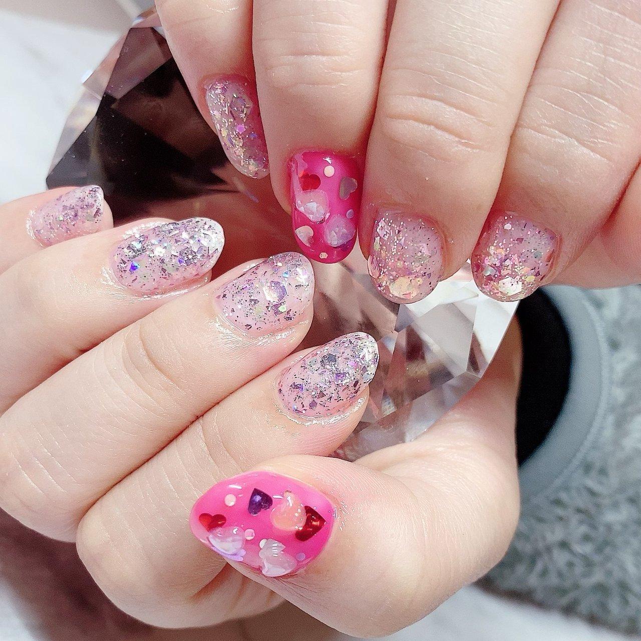 #オールシーズン #バレンタイン #浴衣 #デート #ハンド #シンプル #ラメ #ビジュー #ハート #3D #ショート #ピンク #レッド #メタリック #ジェル #お客様 #nail &eyelash ちゅら #ネイルブック